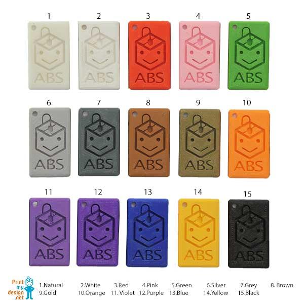 ชารต์สี เส้นพลาสติก ABS จาก PrintMyDesign