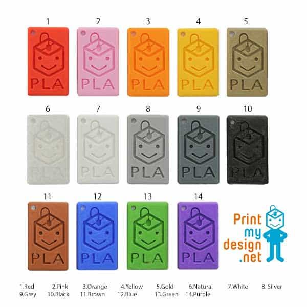 ชาร์ตสี พลาสติก PLA ยี่ห้อ PrintMyDesign