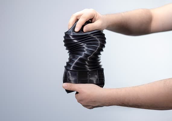 Black shock absorber dust cover 3D Print Sample with Z-Flex Material