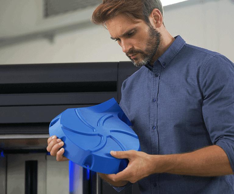 Man Hold Zortrax endureal 3d print sample